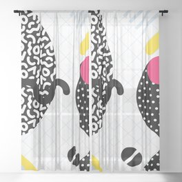 Memphis Design Pattern Snake and Worms Sheer Curtain