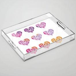Rainbow Watercolor Damask Heart Acrylic Tray
