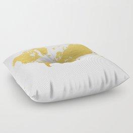 Gold World Map Floor Pillow