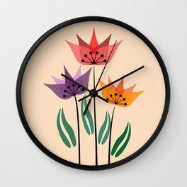 Retro tulips Wall Clock