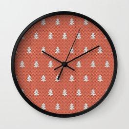 Knitted Orange Christmas Tree Wall Clock