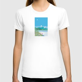Water lily pond and heron T-shirt