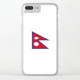 flag of nepal-nepal,buddhism,Nepali, Nepalese,india,asia,Kathmandu,Pokhara,tibet Clear iPhone Case