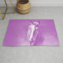 Horse emerging from the purple mist Rug