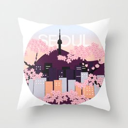 Seoul Tower with Cherry Blossoms Woodblock Style Souvenir Print Throw Pillow