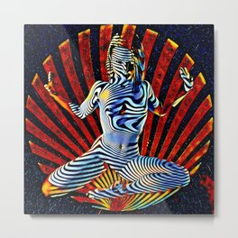 0536s-MM_4531 Cosmic Venus Striped Figure Woman Bringing Life Metal Print