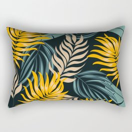 Abstract seamless tropical pattern with bright leaves and plants on a dark background. Exotic tropics. Summer. Summer colorful hawaiian seamless pattern with tropical plants. Rectangular Pillow