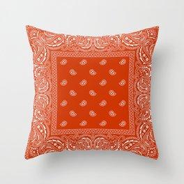 Bandana - Rust - Southwestern - Paisley  Throw Pillow