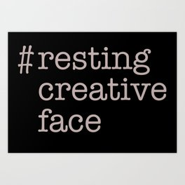 resting creative face Art Print