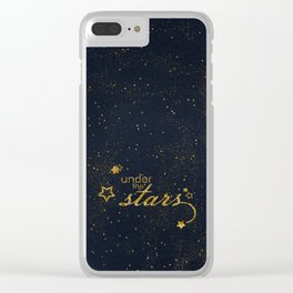 Under the stars- sparkling gold glitter night typography on #Society6 Clear iPhone Case