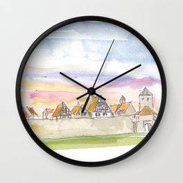 Dinkelsbuehl Bavaria City Walls and Old Town during Sunset Wall Clock