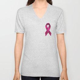 Satin pink ribbon Unisex V-Neck