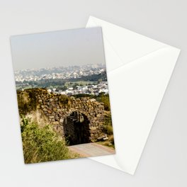 Looking at Downtown Hyderabad from Behind an Ancient Stone Wall in India Stationery Cards