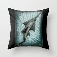 biology Throw Pillows featuring Sawfish - Acrylic Painting by Amber Marine
