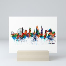 London Watercolor Skyline Silhouette Mini Art Print