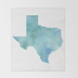 Watercolor State Map - Texas TX blue green Throw Blanket