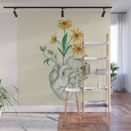 Floral Heart: Sunflower Human Anatomy Valentines Day Gift Wall Mural
