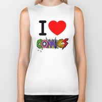 dc comics Biker Tanks featuring I LOVE COMICS by DeMoose_Art