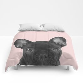 Blush pink Frenchie pop Comforters