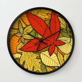 Hand drawn autumn illustration with various colorful fallen leaves. Wall Clock