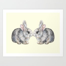 Bunny Love in Yellow Art Print