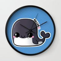 killer whale Wall Clocks featuring Kawaii Killer Whale by Katie White
