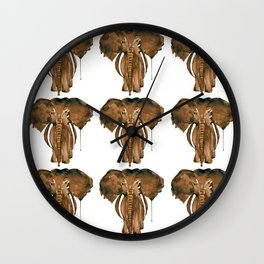 Mother Elephant Brown Wall Clock
