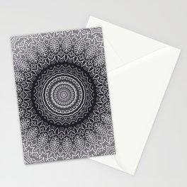 White Line Art Mandala On Grey Stationery Cards