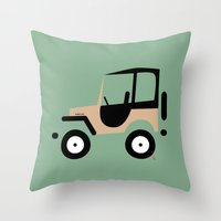 jeep Throw Pillows featuring Just a Jeep by Marcelo Badari