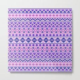 Aztec Essence Pattern II Pinks Blue Purple Metal Print