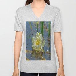 Blue Damselfly Aquatic Lily Unisex V-Neck