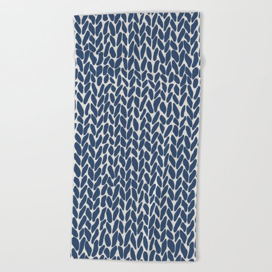 Hand Knit Navy Beach Towel