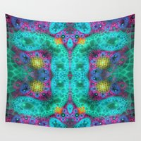 transparent Wall Tapestries featuring Coulorful transparent patterns, fractal abstract by thea walstra