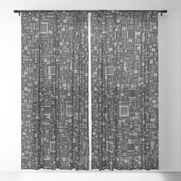 All Tech Line INVERTED / Highly detailed computer circuit board pattern Sheer Curtain