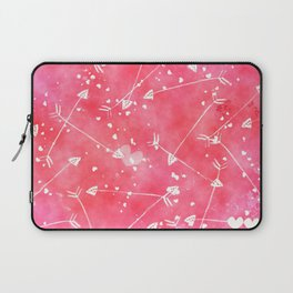 Hearts Stars Arrows Pink Watercolor Background Laptop Sleeve