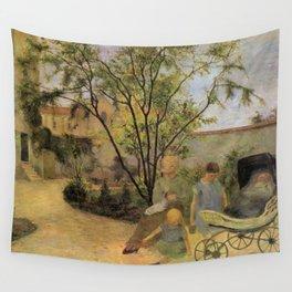 """Paul Gauguin - La famille du peintre au jardin, rue Carcel - """"Figures in a Garden"""" (1881) Wall Tapestry"""
