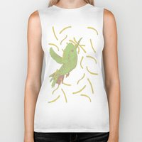 french fries Biker Tanks featuring Bird eat French fries by pexkung