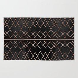 Chic & Elegant Faux Rose Gold Geometric Triangles Rug