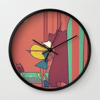 surf Wall Clocks featuring SURF by Ale Giorgini