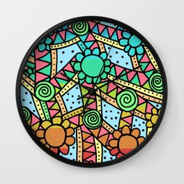 Doodle Art Flower - Pathways - Blue to Red Wall Clock