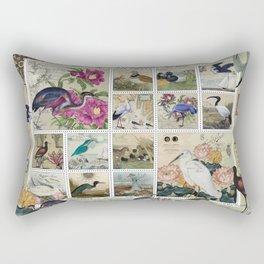 Coastal Bird Postal Collage Rectangular Pillow