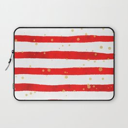 Modern hand painted red yellow watercolor stripes splatters Laptop Sleeve