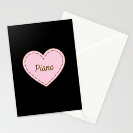 I Love Piano Simple Heart Design Stationery Cards