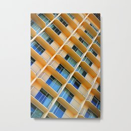 Scratchy Hotel Facade Metal Print