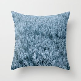 Winter pine forest aerial - Landscape Photography Throw Pillow