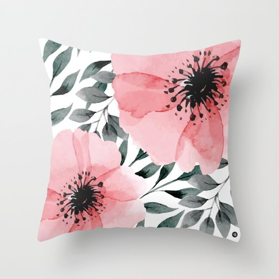 Throw Pillows With Large Flowers : Big Watercolor Flowers Throw Pillow by Mmartabc Society6