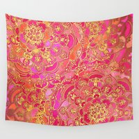 hot Wall Tapestries featuring Hot Pink and Gold Baroque Floral Pattern by micklyn