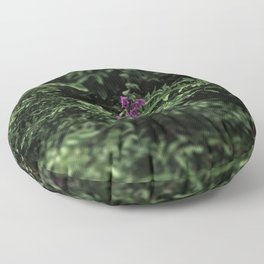 At the city garden, green, trees, purple flowers (2018-11SZH28) Floor Pillow