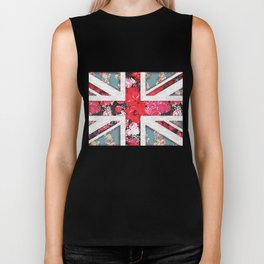 God save the Queen | Elegant girly red floral & lace Union Jack Biker Tank