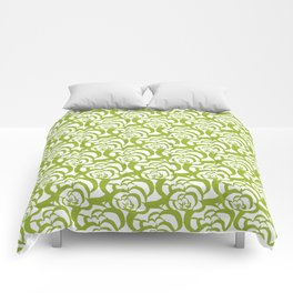 Green Floral Clouds Comforters